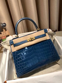 Top hermes genuine 100% crocodile leather handmade kelly 32 bag K320 blue