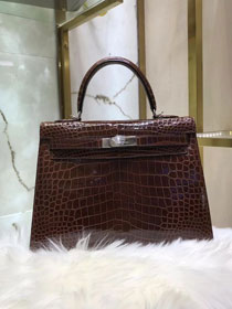Top hermes genuine 100% crocodile leather handmade kelly 32 bag K320 dark coffee