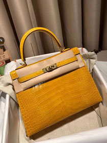 Top hermes genuine 100% crocodile leather handmade kelly 32 bag K320 yellow