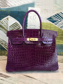 Top hermes genuine 100% crocodile leather handmade birkin 35 bag K350 anemone