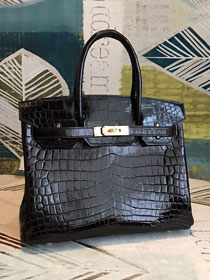 Top hermes genuine 100% crocodile leather handmade birkin 35 bag K350 black