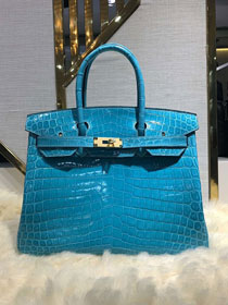 Top hermes genuine 100% crocodile leather handmade birkin 35 bag K350 celeste