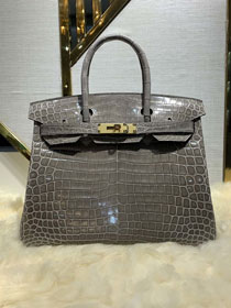 Top hermes genuine 100% crocodile leather handmade birkin 35 bag K350 grey