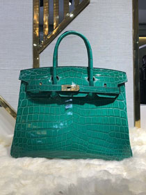 Top hermes genuine 100% crocodile leather handmade birkin 35 bag K350 malachite