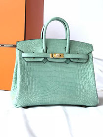 Top hermes genuine 100% crocodile leather handmade birkin 35 bag K350 menthe