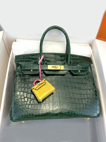 Top hermes genuine 100% crocodile leather handmade birkin 35 bag K350 vert fonce