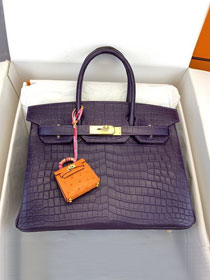 Top hermes genuine 100% crocodile leather handmade birkin 35 bag K350 violet