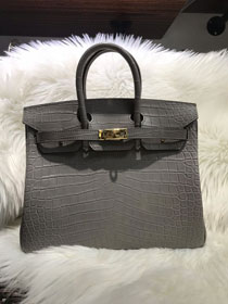 Top hermes genuine 100% crocodile leather handmade birkin 35 bag K350-2 grey
