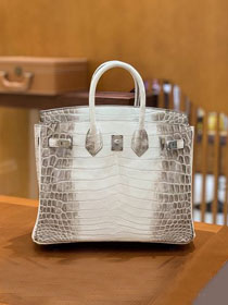 Top hermes handmade genuine 100% crocodile leather birkin 35 bag K350-5 white