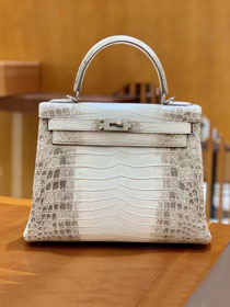 Top hermes handmade genuine 100% crocodile leather Kelly bag K320-5 white