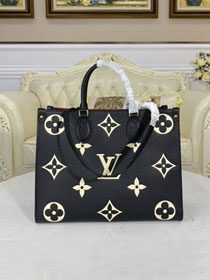 2021 Louis vuitton original embossed calfskin onthego mm M45495 black