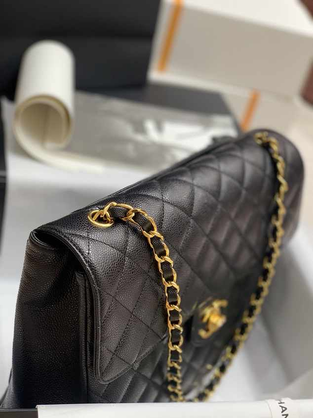 2021 CC original grained calfskin max flap bag AS8431 black