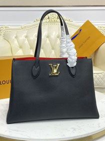 2021 Louis vuitton original calfskin lockme shopper handbag M57345 black