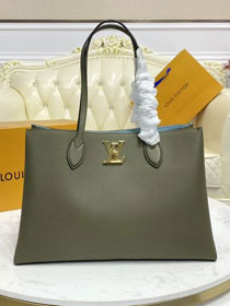 2021 Louis vuitton original calfskin lockme shopper handbag M57345 green