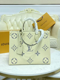2021 Louis vuitton original embossed calfskin onthego mm M45654 white