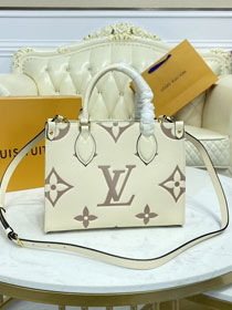 2021 Louis vuitton original embossed calfskin onthego pm M45654 white