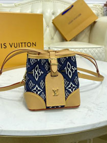 2021 louis vuitton original since 1854 textile mini bucket bag m57447 blue